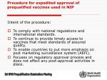 procedure for expedited approval of prequalified vaccines used in nip