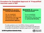 procedure for expedited approval of prequalified vaccines used in nip1