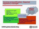 vaccines prequalification required regulatory oversight