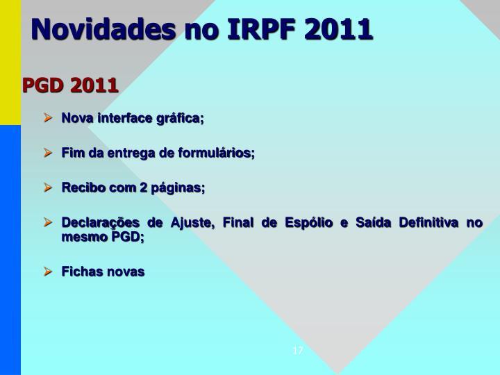 Novidades no IRPF 2011