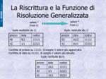 la riscrittura e la funzione di risoluzione generalizzata1