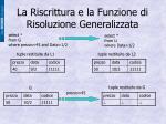 la riscrittura e la funzione di risoluzione generalizzata3
