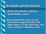 evaluate performance