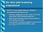 on the job training explained