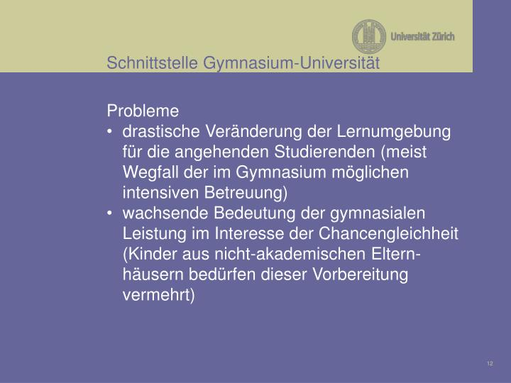 Schnittstelle Gymnasium-Universität