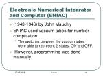 electronic numerical integrator and computer eniac