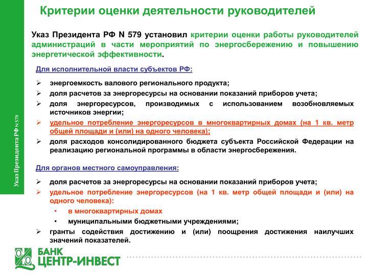Критерии оценки деятельности руководителей