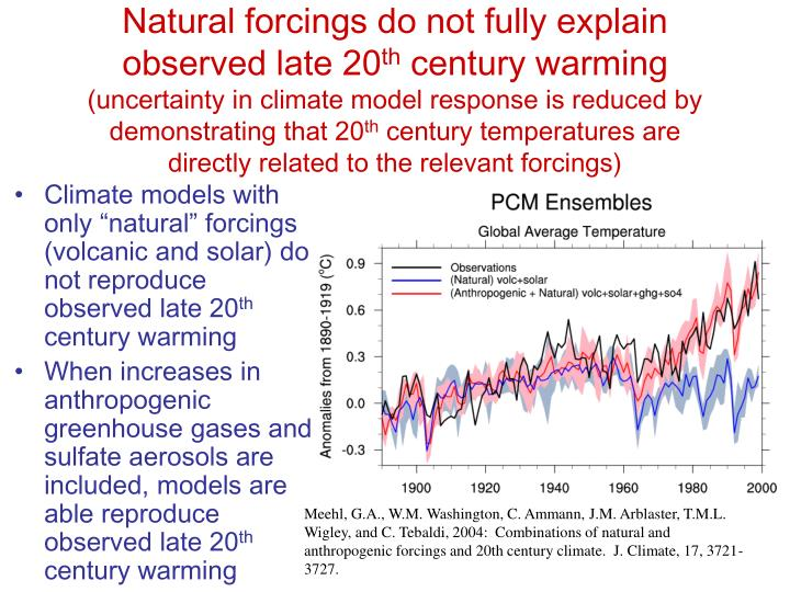 Natural forcings do not fully explain observed late 20