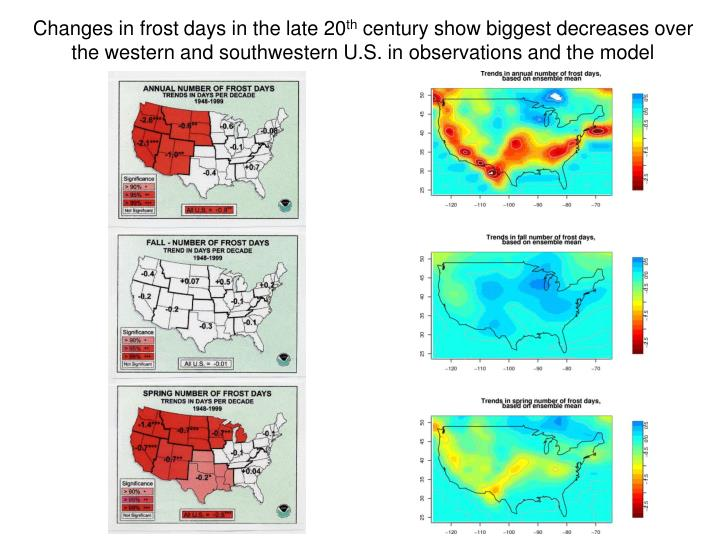 Changes in frost days in the late 20