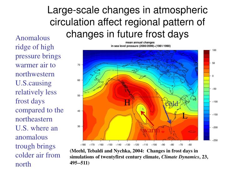 Large-scale changes in atmospheric circulation affect regional pattern of changes in future frost days