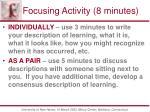 focusing activity 8 minutes