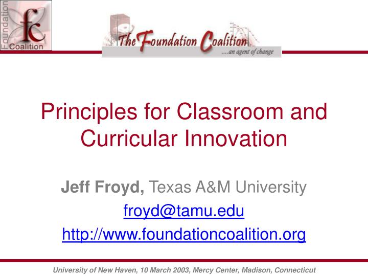 principles for classroom and curricular innovation n.