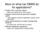 more on what can dbms do for applications