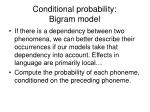 conditional probability bigram model