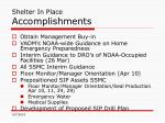 shelter in place accomplishments