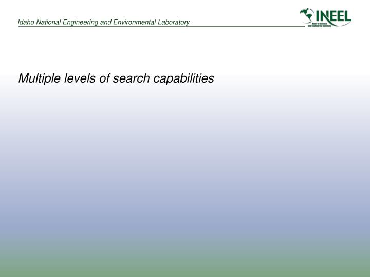 Multiple levels of search capabilities