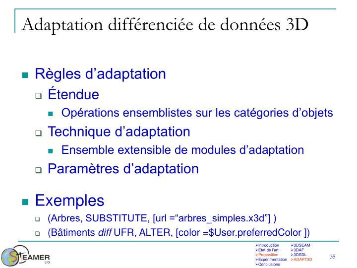 Adaptation différenciée de données 3D