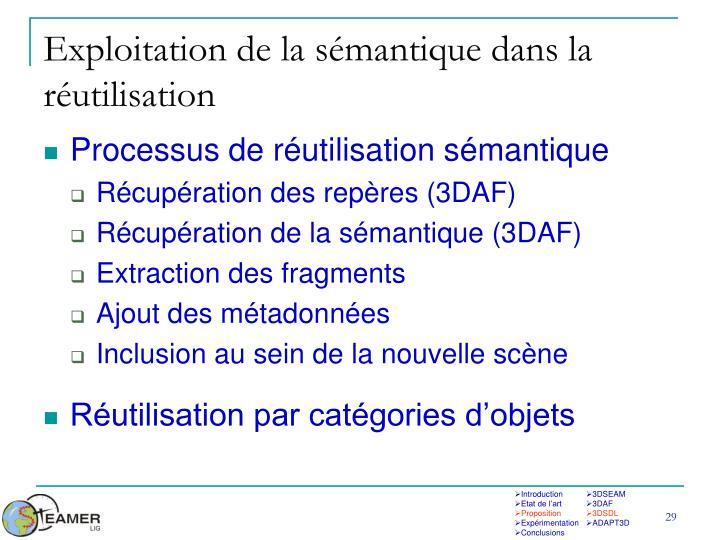 Exploitation de la sémantique dans la réutilisation