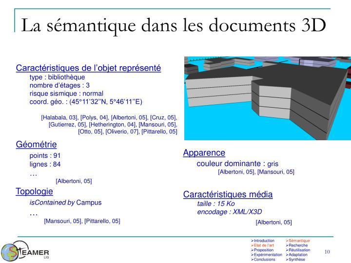La sémantique dans les documents 3D