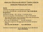 analisa penjualan kredit tanpa diskon dengan penjualan tunai