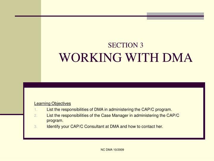 section 3 working with dma n.