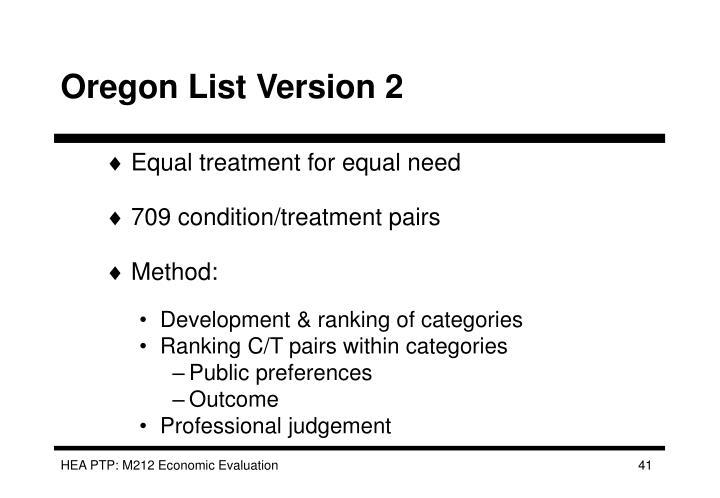 Oregon List Version 2