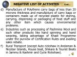 negative list of activites cont