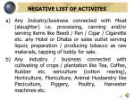 negative list of activites