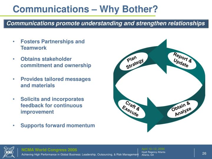 Communications – Why Bother?