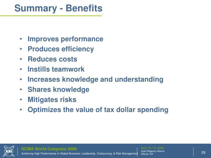 Summary - Benefits