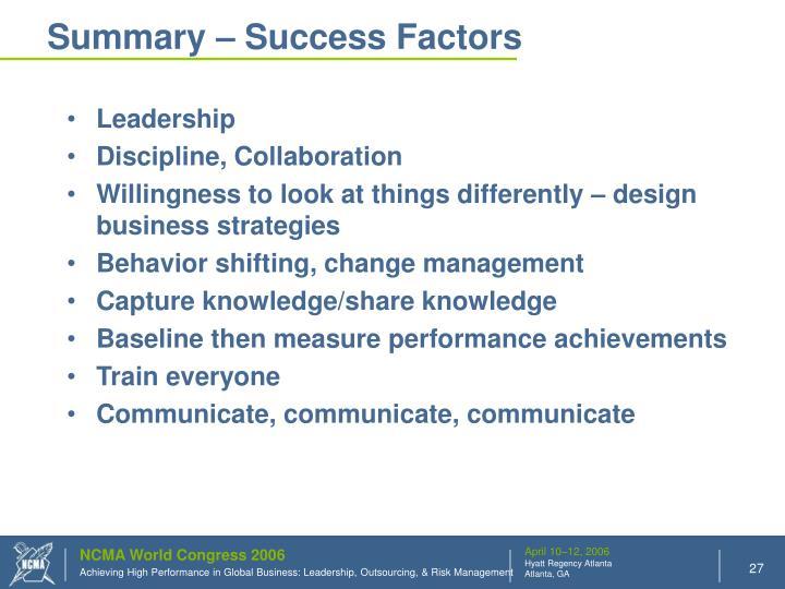 Summary – Success Factors