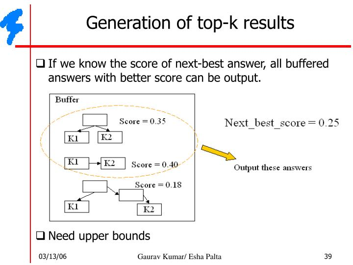 Generation of top-k results