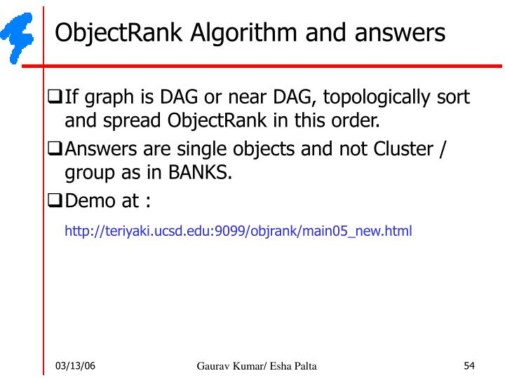 ObjectRank Algorithm and answers