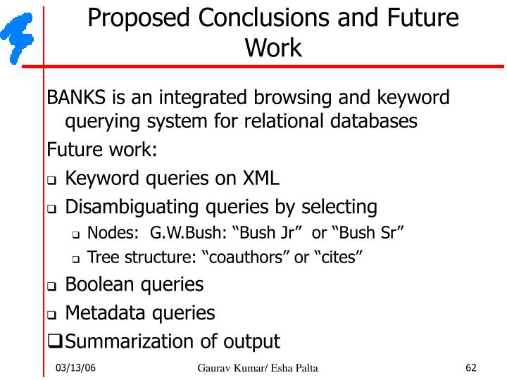 Proposed Conclusions and Future Work