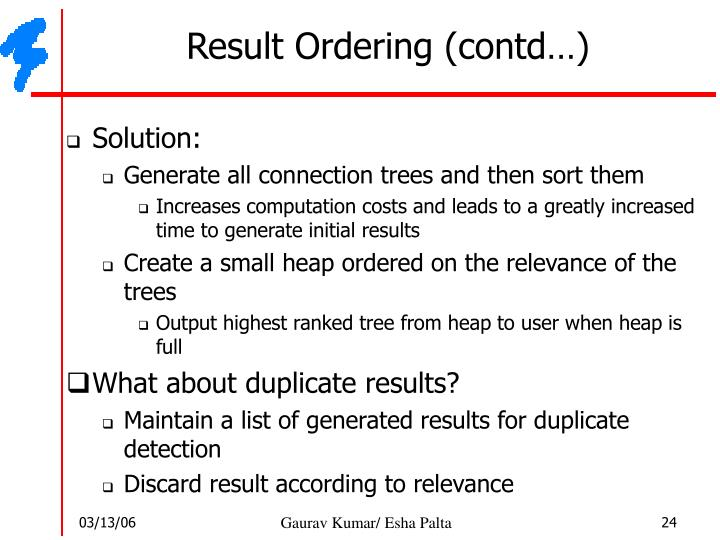 Result Ordering (contd…)