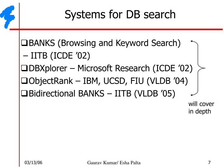 Systems for DB search