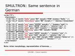 smultron same sentence in german