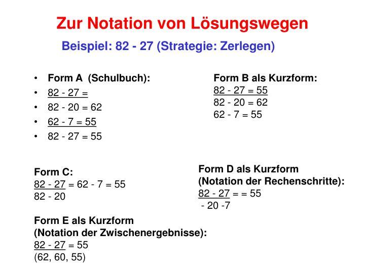 Zur Notation von Lösungswegen