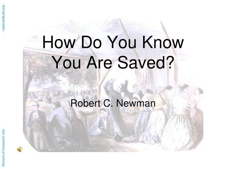 how do you know you are saved n.