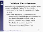 d cisions d investissement