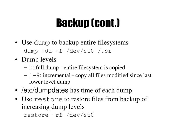 Backup (cont.)