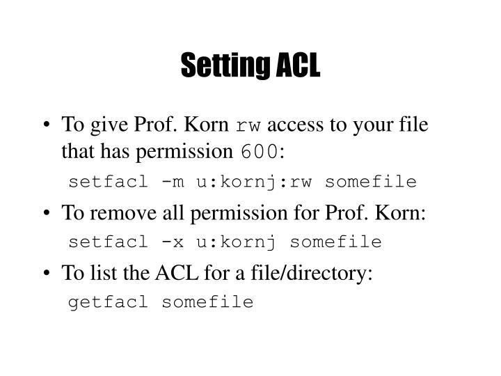 Setting ACL