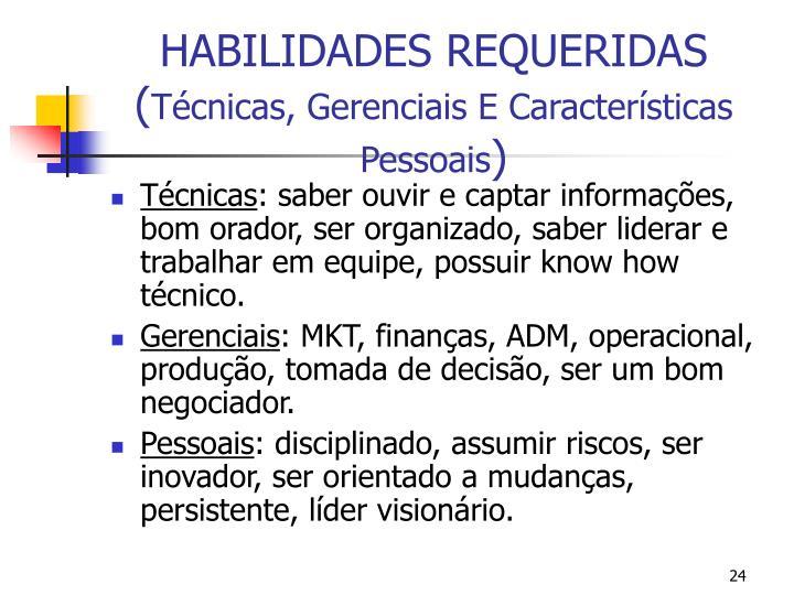 HABILIDADES REQUERIDAS