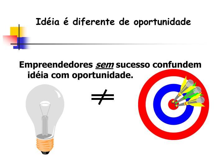 Idéia é diferente de oportunidade