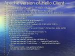apache version of hello client