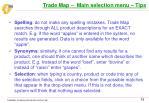 trade map main selection menu tips