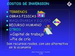costos de inversion