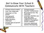 get to know your school communicate with teachers