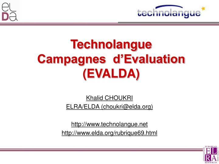 technolangue campagnes d evaluation evalda n.