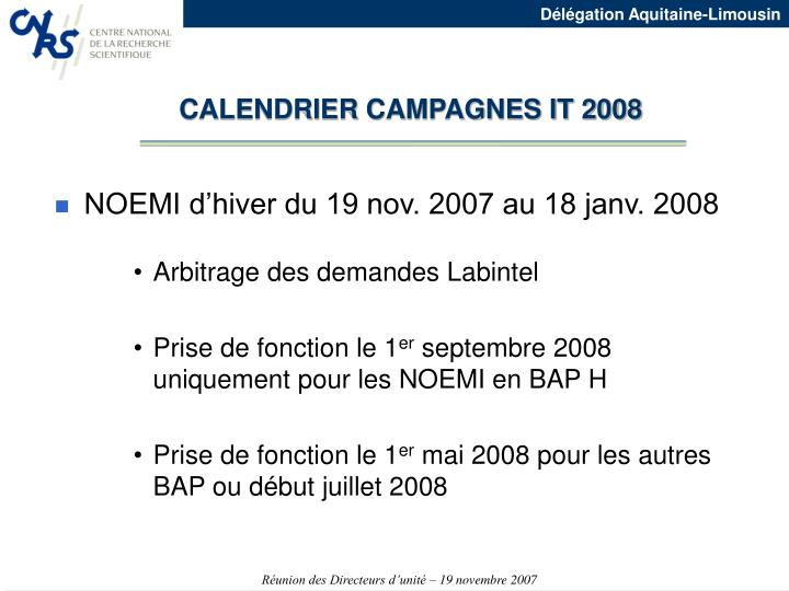 CALENDRIER CAMPAGNES IT 2008